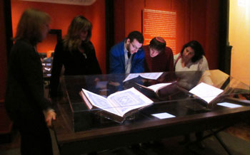 Jewish Studies students enrolled in the majors seminar, on the Hebrew manuscript tradition, taught by Professor Gary Rendsburg inspecting documents from the Bodleian Library